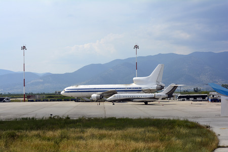 Kavala, Greece - June 15, 2017: Bombardier BD-700 aircraft and cargo aircraft lockheed Tristar on Kavala airport Editorial