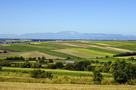 Austria, view ofer Vienna basin to Schneeberg mountain in Lower Austria