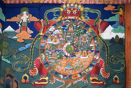 Paro, Bhutan - September 18, 2007: Religious wallpainting in Paro Dzong, Editorial