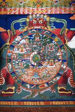 Paro, Bhutan - September 18, 2007: Religious wall painting in  Paro Dzong,