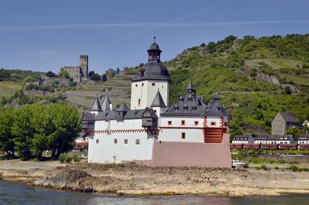 Germany, Rhine Valley, castle Pfalz aka Pfalzgrafenstein and ruin Gutenfels in Kaub village Editorial