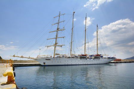 Greece, luxury sailing ship in the harbor of Kavala