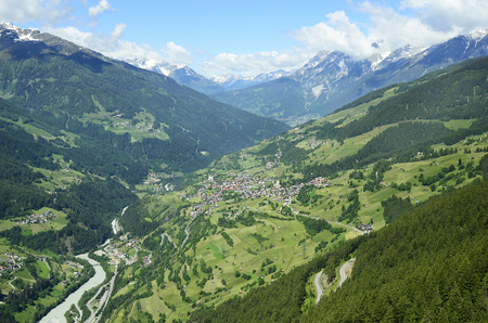 Austria, Tyrol, landscape Inn valley with village Fliess and Austrian Alps behind Stock Photo