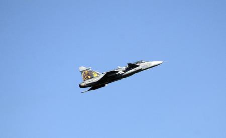 ツェルトベク, オーストリア、シュタイアー マルク州 - 2016 年 9 月 2 日: 表示ジェット戦闘機サーブ jas から 39 グリペンという兵力 16 公共航空ショーで 写真素材 - 86463585