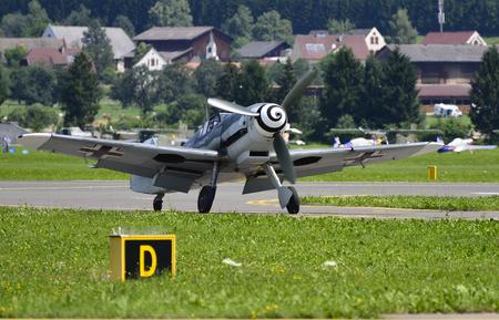 Zeltweg, Austria - July 01, 2011: World War II German fighter aircraft Messerschmitt Bf 109 Me 109 by public airshow - airpower11 新聞圖片