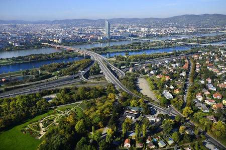 Austria, aerial view from Danube Tower over Vienna with Danube river Reklamní fotografie
