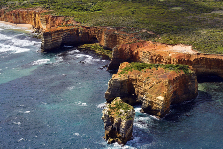 Australia, Victoria, aerial view to coast in Port Campbell National Park Stock Photo