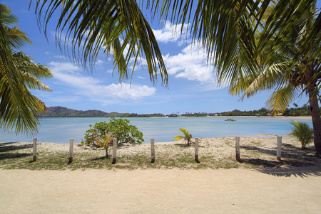 Fiji, Malolo Lailai, beach on Plantation Island resort, preferred place for vacation and water sport in south sea, Melanesia