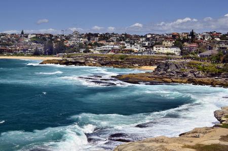 Australia, homes and coast of Tamarama beach in Sydney
