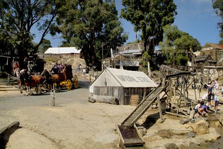 Ballarat, Victoria, Australia - January 23, 2008: Unidentified people in rebuilt gold digger village named Sovereign Hill