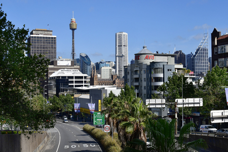 Sydney, NSW, Australia - October 28, 2017: Cityscape with different buildings, St. Mary cathedral and Sydney Tower Editorial