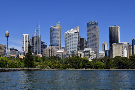 Sydney, NSW, Australia - October 28, 2017: Skyline with office buildings and Sydney Tower aka Centrepoint Tower