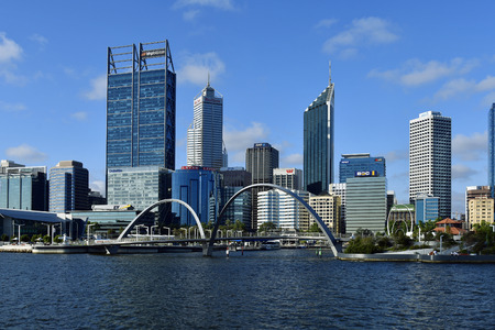 Perth, WA, Australia - November 27, 2017: Cityview to Esplanade and Elisabeth bridge on Swan river