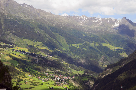 Austria, mountain village Kauns in Kaunertal valley, Tyrolean Alps Stock Photo