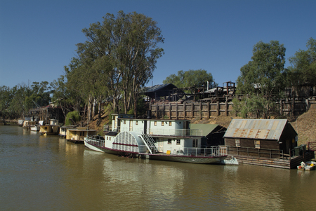 Echuca, VIC, Australia - different vintage paddlesteamers on Murray river on port of Echuca