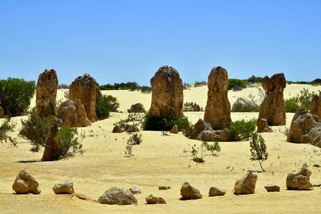 Australië, WA, The Pinnacles in Nambung National Park, favoriete toeristische attractie en natuurlijke bezienswaardigheid