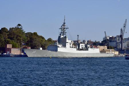 Sydney, NSW, Australia - October 29, 2017: Warship HMAS Hobart, air warfare destroyer ship in Wooloomooloo harbor