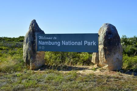 Cervantes, WA, Australia - November 23, 2017: Welcome sign of Nambung National Park, preferred tourist attraction and natural landmark Pinnacles Editorial