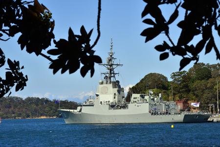 Sydney, NSW, Australia - October 31, 2017: Warship HMAS Hobart of the Royal Australian navy in fleet base Wooloomooloo wharf