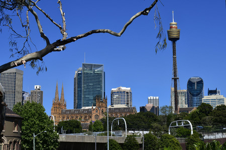 Sydney, NSW, Australia - October 30, 2017: Skyline with different buildings, St. Marys cathedral and Sydney Tower aka Centrepoint tower