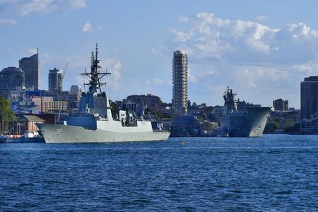 Sydney, NSW, Australia - October 29, 2017: Warships HMAS Hobart and HMAS Canberra in Wooloomooloo harbor