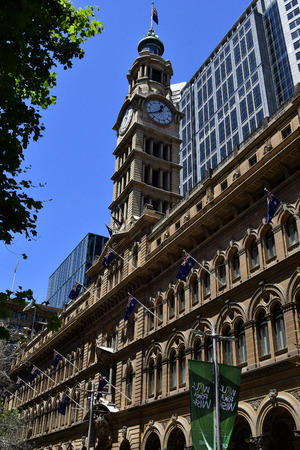 Sydney, NSW, Australia - October 30, 2017: Historic General Post office building aka GPO on Martin Place