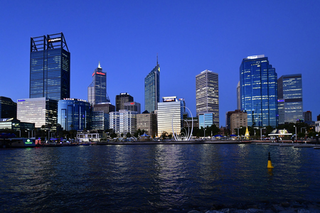 Perth, WA, Australia - November 30, 2017: Elizabeth Quay and Esplanade with dirfferent buildings at evening Stock Photo - 96738010