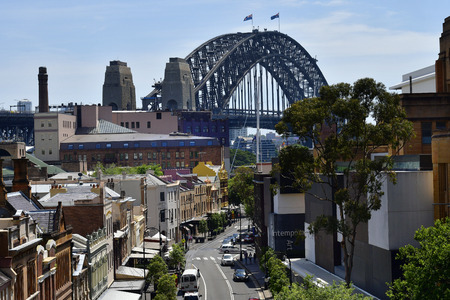 Sydney, NSW, Australia - October 28, 2017: Homes, museum of Contemporary Art and Harbour Bridge in The Rocks district