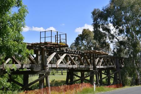 Australia, old wooden railway bridge from 19th century in Gundagai village Stock Photo