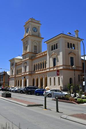 Goulborn, NSW, Australia - November 01, 2017: Cars and post office buildings on main street in the tiny village in New South Wales