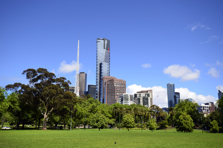Melbourne, VIC, Australia - November 04, 2017: Skyline with Euraka tower, spire of Arts Center Melbourne and other buildings Editorial