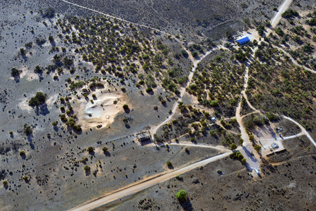 Australia, aerial view from landscape and historical Zanci homestead in Mungo National Park in New South Wales Stock Photo