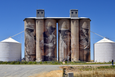 Rupanyup, VIC, Australia - November 08, 2017: Silos with painting by artist Guido Van Helten on Hume highway