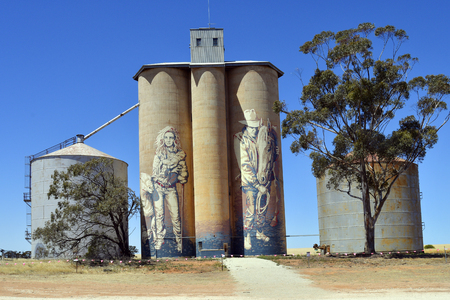 Rupanyup, VIC, Australia - November 08, 2017: Painted silos from artist Guido Van Helten, tourist attraction on Hume highway