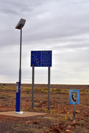 Australia, emergency telephone station on Stuart highway