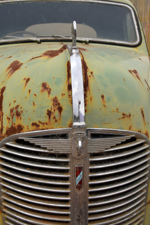Orroroo, SA, Australia - November 11, 2017: Front grille of rusty old truck Austin 40 in the tiny outback village in South Australia