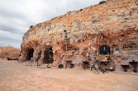 Coober Pedy, SA, Australia - November 13, 2017: Dugout - former home of Crocodile Henry built in rock in the opal village in South Australia