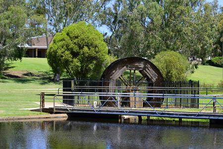 Australia, Gingin village, old water wheel  on brook in public Granville park in the village of Western Australia