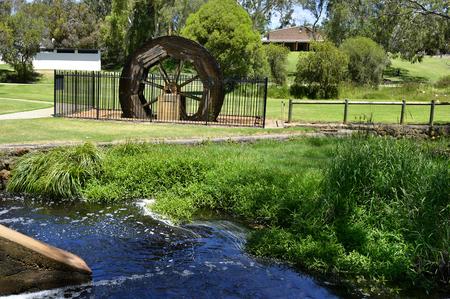 Australia, Gingin village, old water wheel and Gingin brook in public Granville park in the village of Western Australia