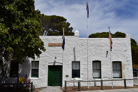 Perth, WA, Australia - November 27, 2017: The Old Salt Store built in 19th century, one of the oldest buildings on Rottnest Island