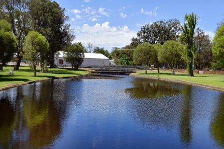 Australia, Gingin village,  bridge over Gingin crook in public Granville park in the village of Western Australia