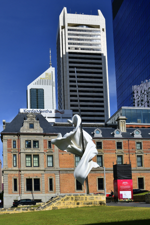 Perth, WA, Australia - November 27, 2017: Sculpture named Ascalon, an abstract interpretation of the legend of George and the dragon - made by Marcus Canning and Christian de Vietri - in front of the St. George cathedral Editorial