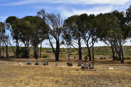 Greenough, WA, Australia - November 24, 2017: Graves in old Walkaway cemetery on Brand highway in Western Australia