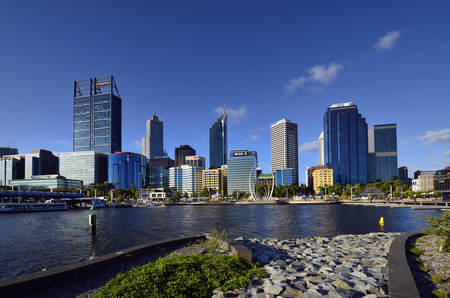 Perth, WA, Australia - November 27, 2017: Skyline from Perth on Swan river with different buildings and Spanda sculpture on esplanade 에디토리얼