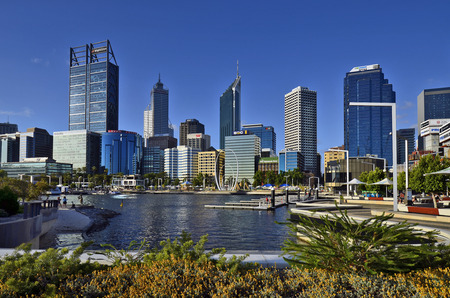 Perth, WA, Australia - November 27, 2017: Skyline from Perth on Swan river with different buildings and Spanda sculpture on esplanade Editorial