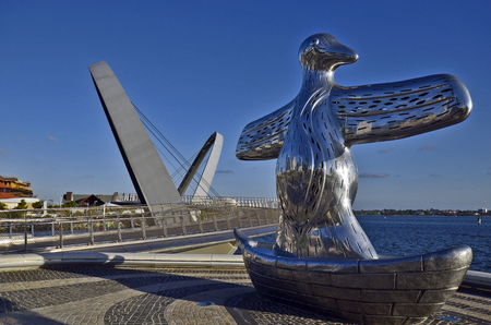 Perth, WA, Australia - November 27, 2017: Sculpture named First Contact by indigenous artist Laurel Nannup, located on Elizabeth Quay.