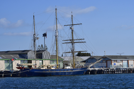 Perth, WA, Australia - November 27, 2017: Three-masted barquentine STS Leeuwin II on port in Fremantle