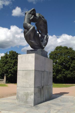 Oslo, Norway - June 21, 2009: Sculpture in Vigeland Park in Oslo, preferred tourist attraction and landmark of the capital Redactioneel