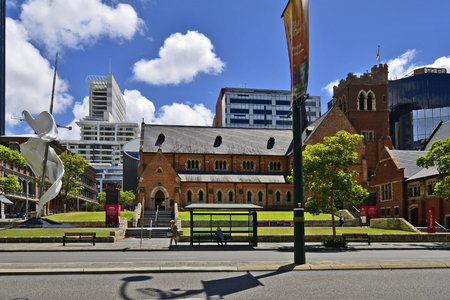 Perth, WA, Australia - November 28, 2017: St. George Cathedral and modern artwork the story of Ascalon - George and the Dragon Editorial