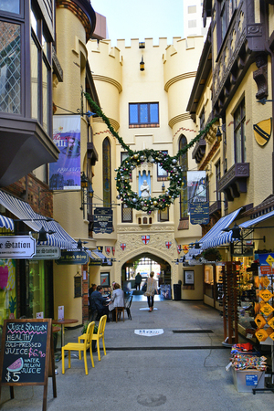 Perth, WA, Australia - November 28, 2017: Unidentified people and shops in London Court, preferred arcade for shopping and dining